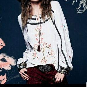 Free People Tiger Lily embroidered peasant top